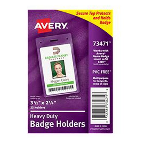"Avery 2-1/4"" x 3-1/2"" Portrait Clear Heavy Duty Secure Top Badge Holders 25pk (AVE-73471) - $11.04 Image 1"