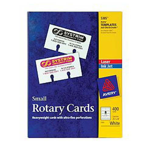 "Avery 2-1/6"" x 4"" Customizable White Uncoated Rotary Cards 400pk (AVE-5385) Image 1"