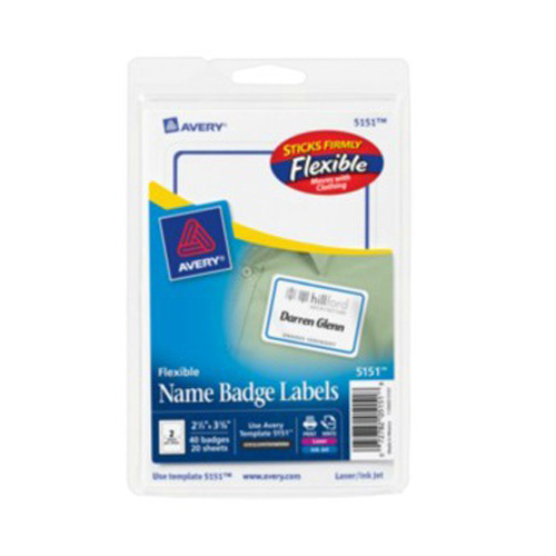"Avery 2-11/32"" x 3-3/8"" Blue Border Flexible Self-Adhesive Name Badge Labels 40pk (AVE-5151) Image 1"