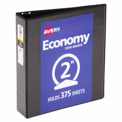 "Avery 2"" Black Economy Round Ring View Binders 12pk (AVE-05730) Image 1"