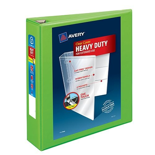 "Avery 2"" Chartreuse Heavy-Duty View Binders with Locking One Touch EZD Ring 6pk (AVE-79776) Image 1"