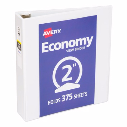 "Avery 2"" White Economy Round Ring View Binders 12pk (AVE-05731) Image 1"