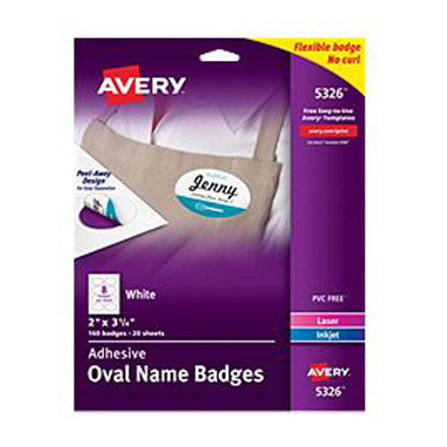 "Avery 2"" x 3-1/3"" White Oval Flexible Self-Adhesive Name Badge Labels 160pk (AVE-5326) Image 1"