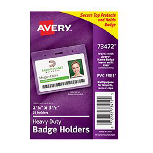 "Avery 3-1/2"" x 2-1/4"" Landscape Clear Heavy Duty Secure Top Badge Holders 25pk (AVE-73472) - $11.04 Image 1"