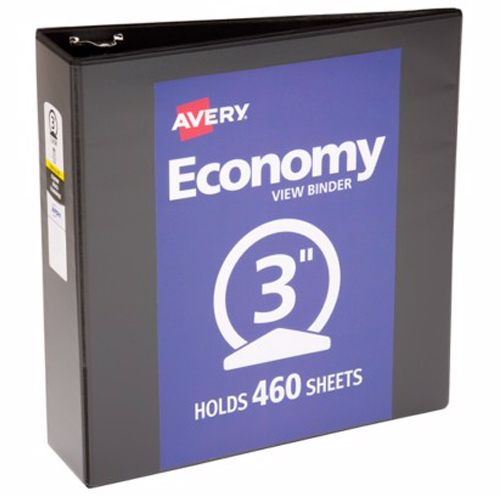 "Avery 3"" Black Economy Round Ring View Binders 12pk (AVE-05740) Image 1"