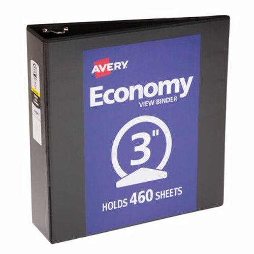 "Avery 3"" Black Economy View Round Ring Binders 12pk (AVE-05891) Image 1"