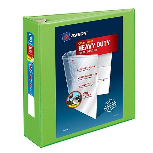 "Avery 3"" Chartreuse Heavy-Duty View Binders with Locking One Touch EZD Ring 4pk (AVE-79779) Image 1"