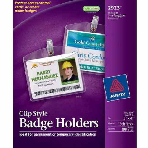 "Avery 3"" x 4"" Badge Holder with Garment Friendly Clips (100pk) (AVE-2923) Image 1"