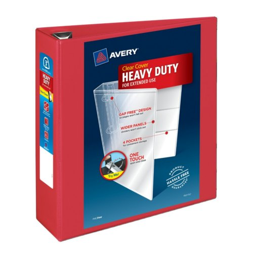 "Avery 3"" Red Heavy Duty View Binders with One Touch EZD Ring 4pk (AVE-79325) Image 1"