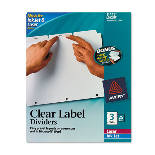 "Avery 3-tab 11"" x 8.5"" Clear Label Punched Dividers 25 sets (AVE-11445) Image 1"