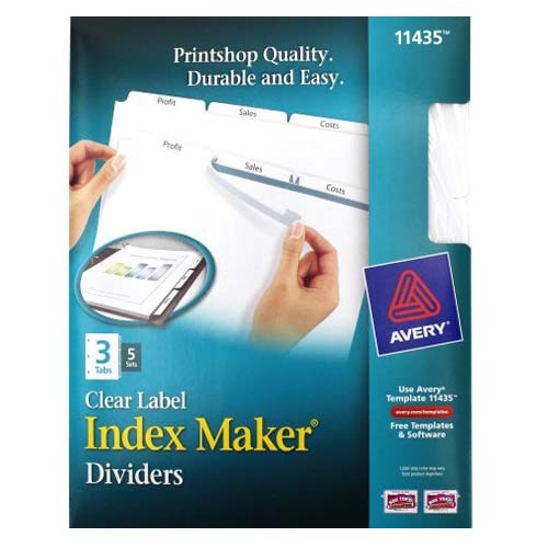 "Avery 3-tab 11"" x 8.5"" Clear Label Punched Dividers 5 sets (AVE-11435) Image 1"