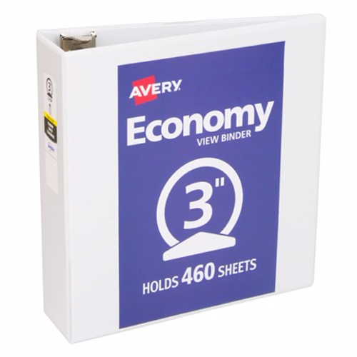 "Avery 3"" White Economy Round Ring View Binders 12pk (AVE-05741) Image 1"