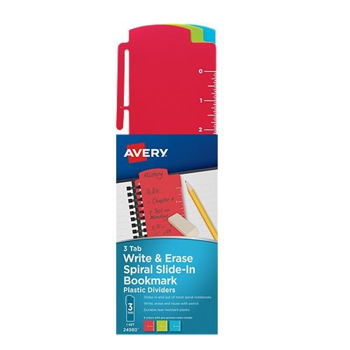 "Avery 3"" x 10-1/2"" Write & Erase Spiral Slide-In Plastic Bookmark Dividers 1 set (AVE-24980) Image 1"