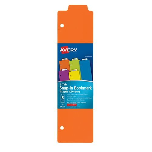 "Avery 3"" x 11-1/2"" Multicolor Tabbed Snap-In Plastic Bookmark Dividers 1 set (AVE-24908) Image 1"