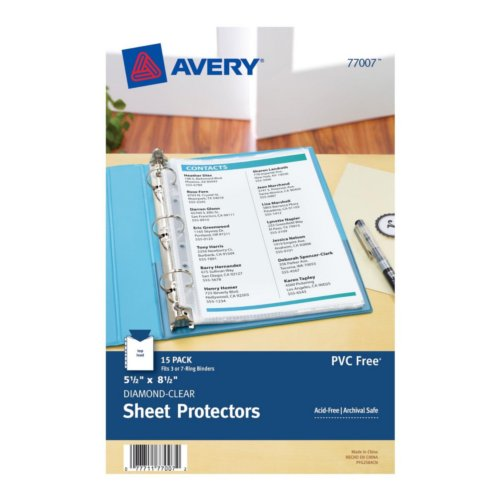"Avery 5.5"" x 8.5"" Diamond Clear Heavyweight Top-Load Sheet Protectors 15pk (AVE-77007) - $5.21 Image 1"