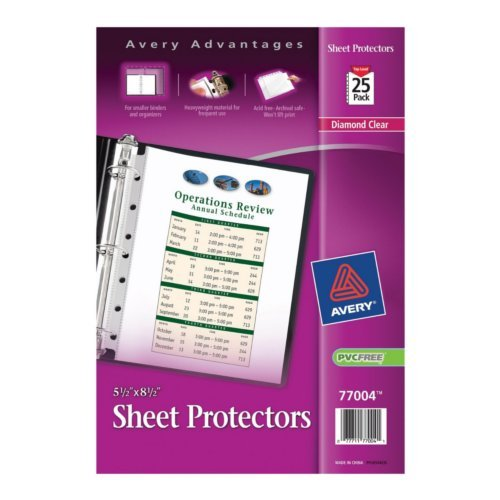 "Avery 5.5"" x 8.5"" Diamond Clear Heavyweight Top-Load Sheet Protectors 25pk (AVE-77004) Image 1"