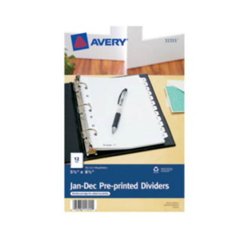"Avery 5.5"" x 8.5"" Mini White Jan-Dec Tab Pre-printed Tab Dividers 1 set (AVE-11315) - $2.04 Image 1"