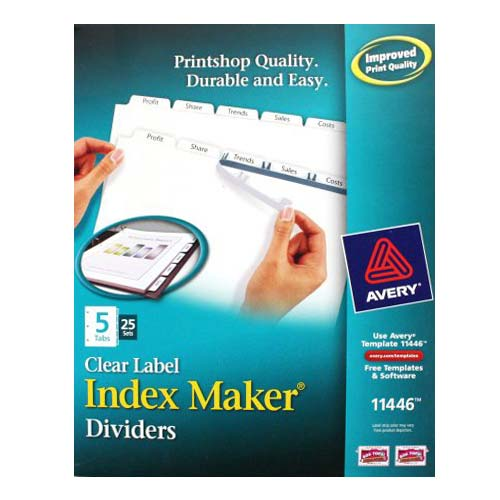 "Avery 5-tab 11"" x 8.5"" Clear Label Punched Dividers 25 sets (AVE-11446) Image 1"