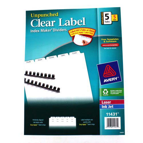 "Avery 5-tab 11"" x 8.5"" Clear Label Unpunched Dividers 5pk (AVE-11431) Image 1"