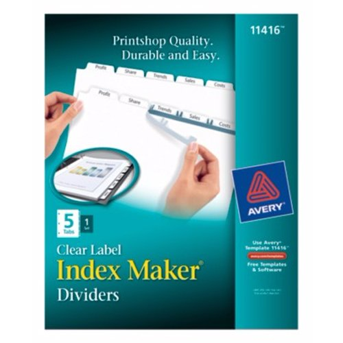"Avery 5-tab 11"" x 8.5"" Clear Label Dividers 1 set (AVE-11416) Image 1"