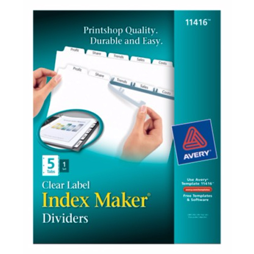 "Avery 5-tab 11"" x 8.5"" Clear Label Dividers 1 set (AVE-11416) - $3.6 Image 1"