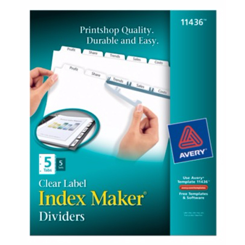 "Avery 5-tab 11"" x 8.5"" Clear Label Punched Dividers 5 sets (AVE-11436) Image 1"