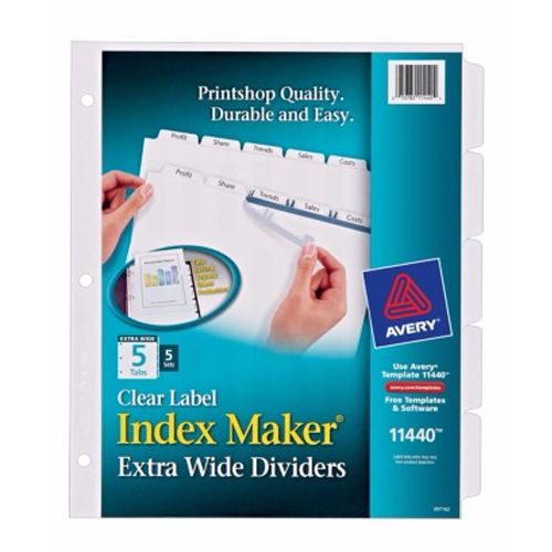 "Avery 5-tab 11"" x 9"" Clear Label 3-hole Punched Dividers 5pk (AVE-11440) Image 1"