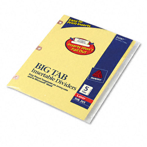 Avery 5-tab Buff Paper WorkSaver Big Tab Clear Dividers (AVE-23281) Image 1