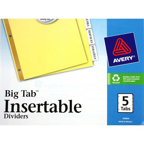 Avery 5 tab clear dividers buff paper worksaver big tab for Avery 3 tab dividers
