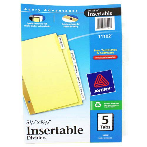 Avery 5-tab Clear WorkSaver Insertable Tab Dividers (AVE-11102)