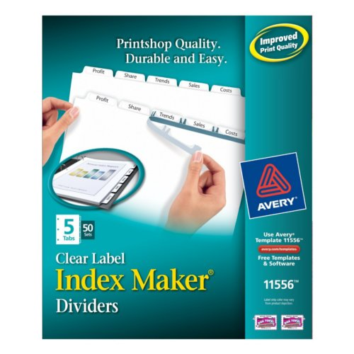 Avery 5-Tab Index Maker Clear Label Dividers with White Tabs 50 sets (AVE-11556) Image 1