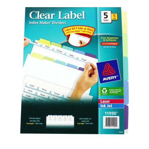 "Avery 5-tab Multicolor 11"" x 8.5"" Clear Label Dividers 5pk (AVE-11990) Image 1"