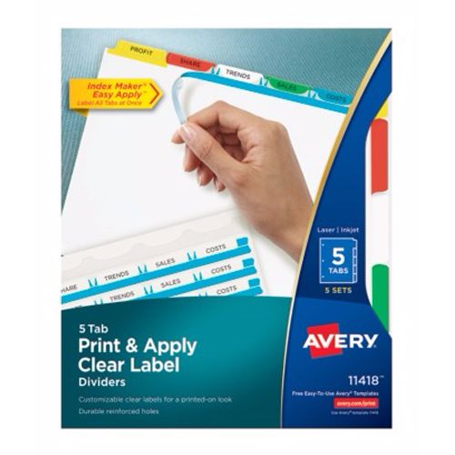 "Avery 5-tab Multicolor 11"" x 8.5"" White Dividers 5pk (AVE-11418) - $28.99 Image 1"