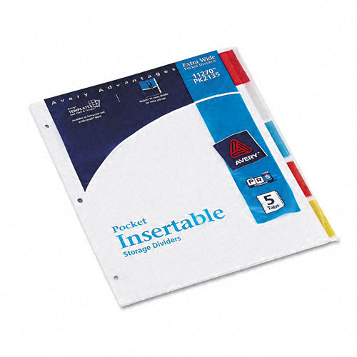 Avery 5-tab Multicolor Insertable WorkSaver Pocket Dividers (AVE-11270) - $1.79 Image 1