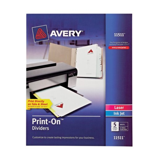 Avery 5-Tab Print-On Dividers with White Tabs 1 set (AVE-11511) Image 1