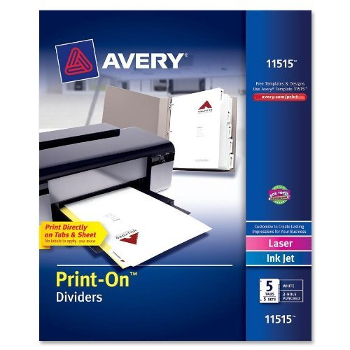 Avery Print on 5 Tabs Image 1