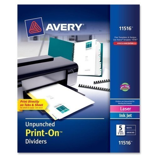Avery 5-Tab Unpunched Print-On Dividers with White Tabs 5 sets (AVE-11516) Image 1