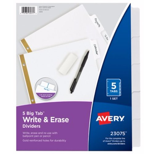 Avery 5-tab White Big Tab Write-On Dividers (AVE-23075) - $1.42 Image 1
