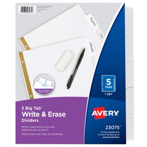 Avery 5-tab White Big Tab Write-On Dividers (AVE-23075) Image 1