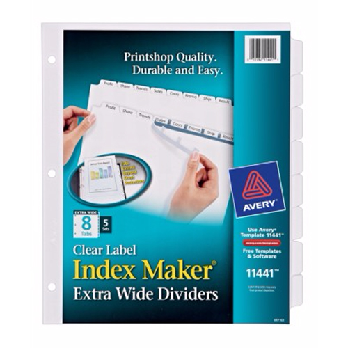 "Avery 8-tab 11.25"" x 9.25"" Clear Label 3-hole Punched Dividers (AVE-11441) Image 1"