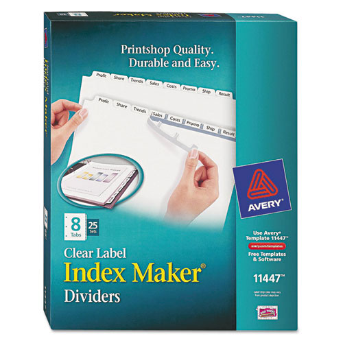 "Avery 8-tab 11"" x 8.5"" Clear Label Punched Dividers 25 sets (AVE-11447) Image 1"