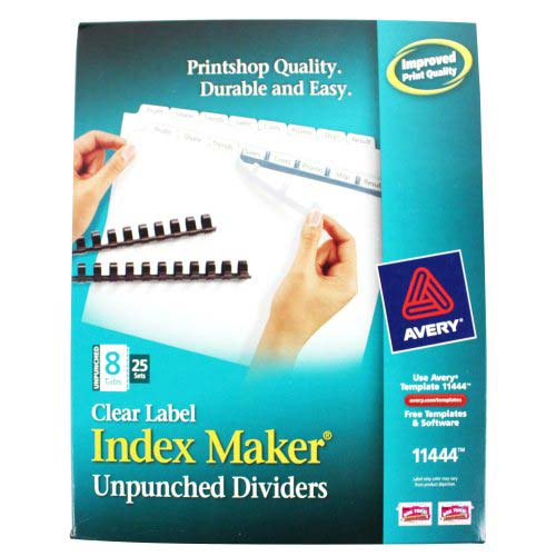 "Avery 8-tab 11"" x 8.5"" Clear Label Unpunched Dividers 25pk (AVE-11444) Image 1"