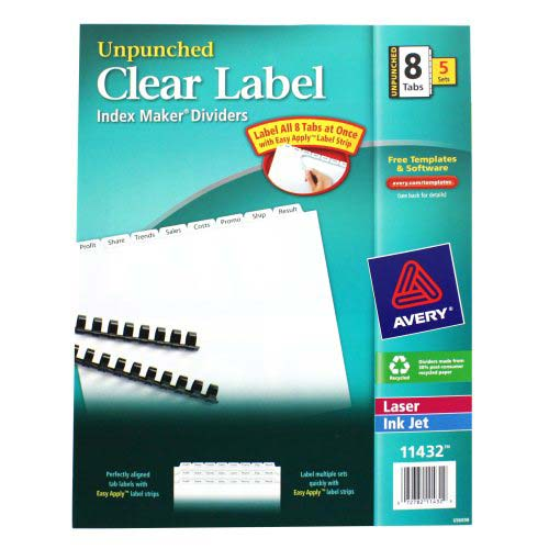 "Avery 8-tab 11"" x 8.5"" Clear Label Unpunched Dividers 5pk (AVE-11432) Image 1"