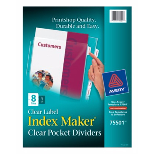 "Avery 8-tab 11"" x 8.5"" Clear Pocket Presentation Dividers (AVE-75501) Image 1"