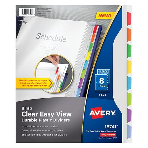 Avery 8-Tab Clear Easy View Durable Plastic Dividers 1 set (AVE-16741) Image 1