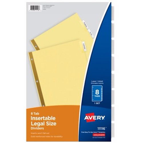 Avery 8-tab Clear WorkSaver Insertable Tab Dividers (AVE-11116), Index Tabs Image 1