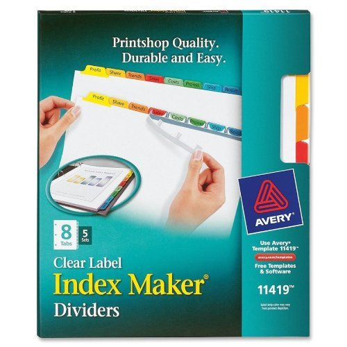 Avery 8-Tab Index Maker Clear Label Dividers with Traditional Colored Tabs 5 sets (AVE-11419) Image 1