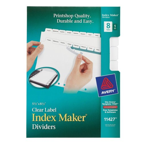 Avery 8-Tab Index Maker Clear Label Dividers with White Tabs 1 set (AVE-11427) Image 1