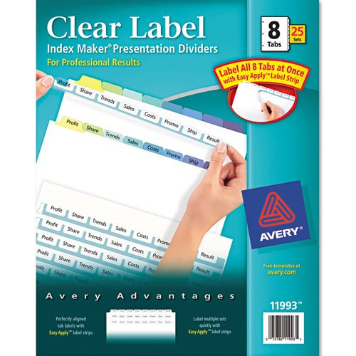 "Avery 8-tab Multicolor 11"" x 8.5"" Clear Label Dividers 25pk (AVE-11993) Image 1"