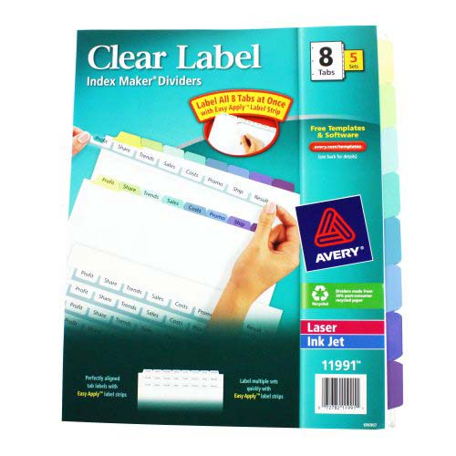 "Avery 8-tab Multicolor 11"" x 8.5"" Clear Label Dividers 5pk (AVE-11991) Image 1"